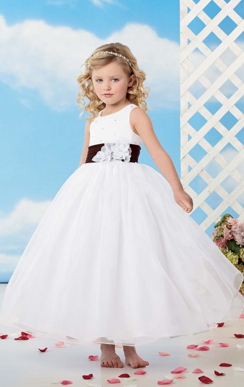Flower Girl Dress Flower Girl Dresses Round Neck Sheer Ball Gown ...