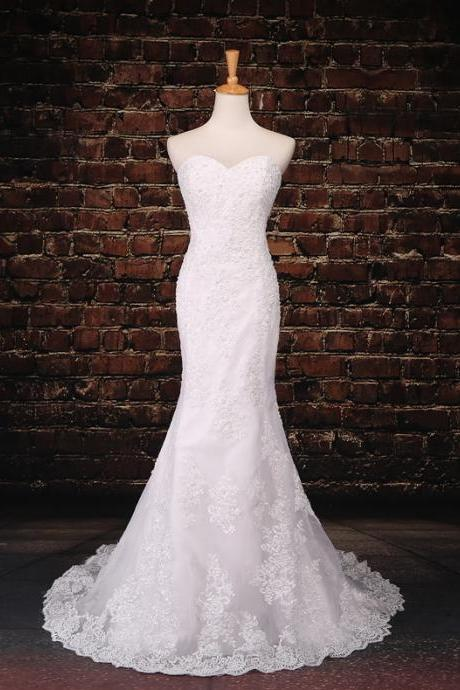 Strapless Sweetheart Mermaid Wedding Gown with Chapel Train