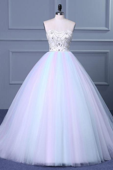 Strapless Sweetheart Colorful Wedding Gown with Sweep Train